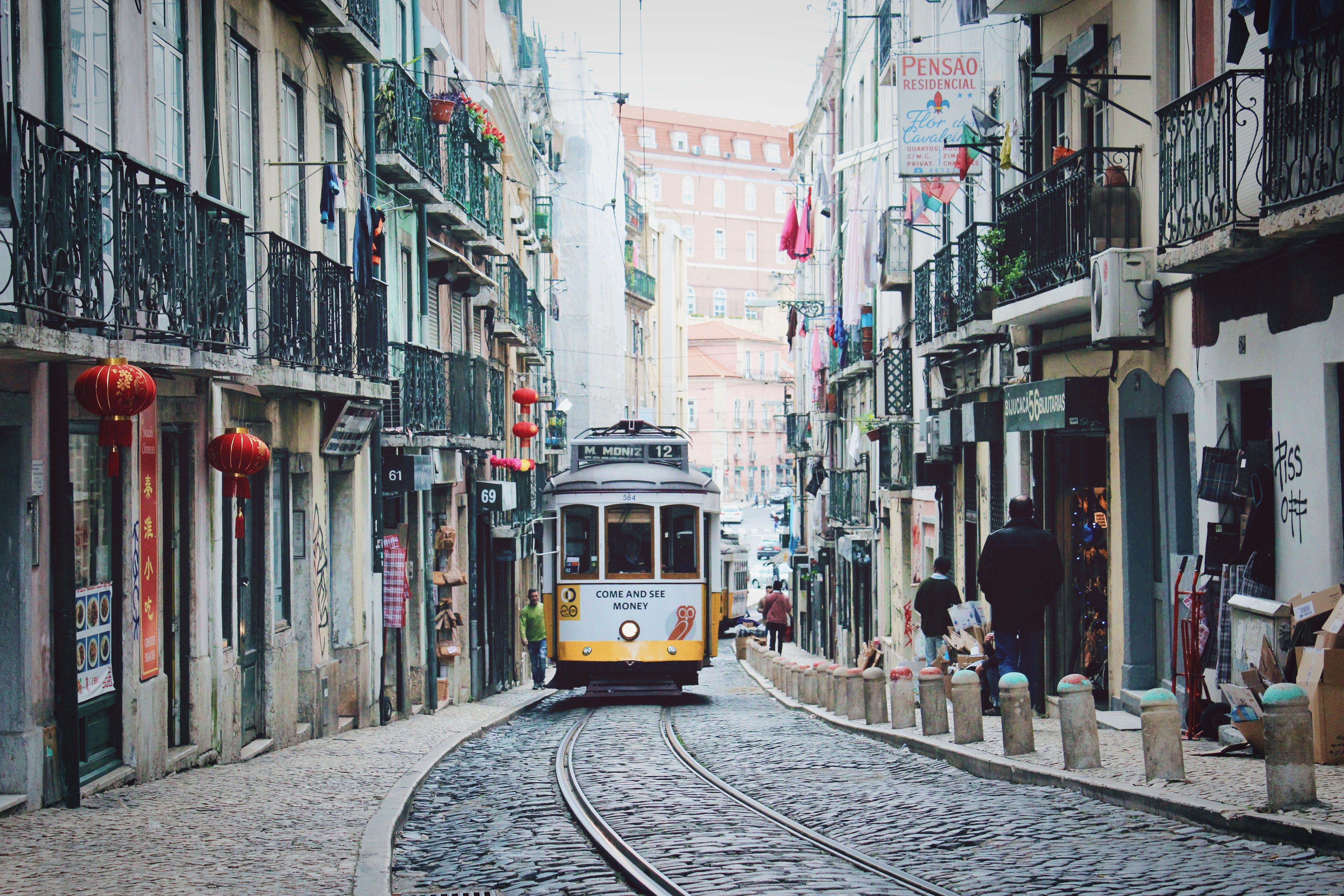 visiting lisbon - yellow tram
