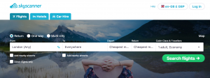 How to book a cheap flight anywhere on skyscanner search tool