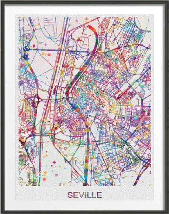 Best travel gifts for couples - colourful city map print