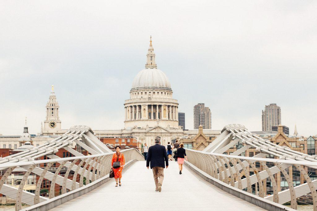 London in winter white buildings