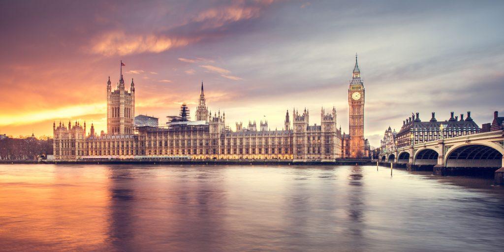 London in winter river scene sunset