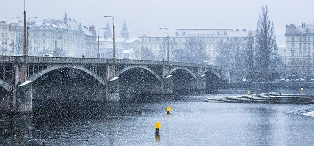 Prague in winter time in snow