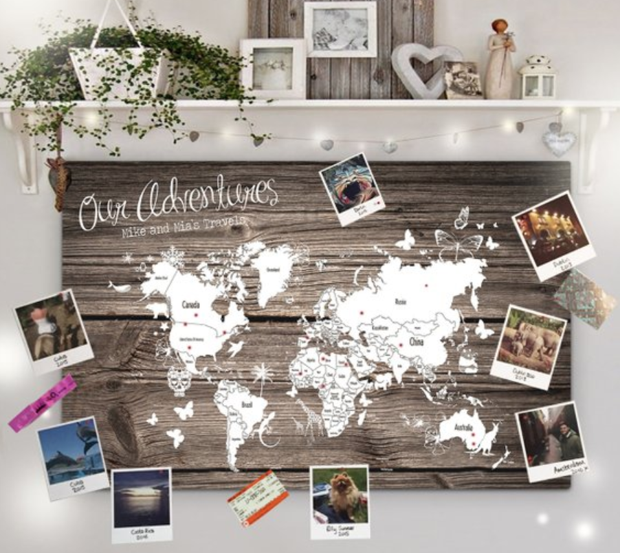 best travel gifts for couples - a map cork board