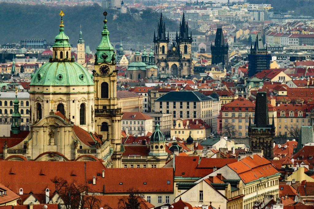 Prague buildings in winter time