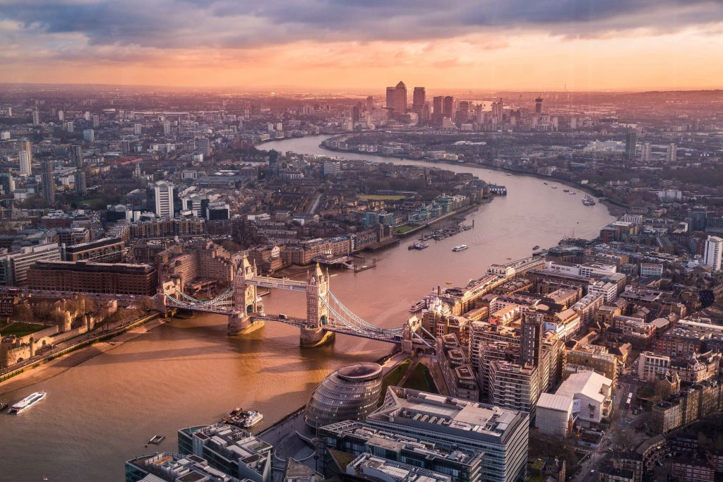 london in winter ariel view at sunrise