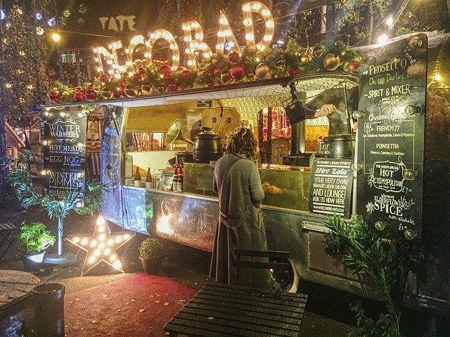 london in winter christmas street food