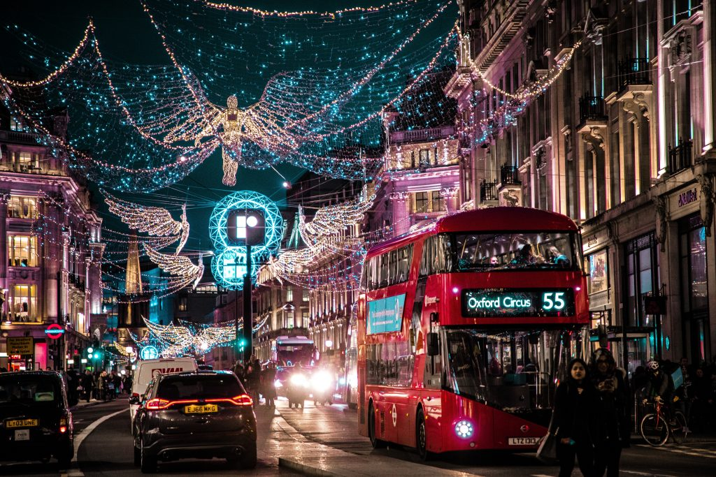 london in winter city lights