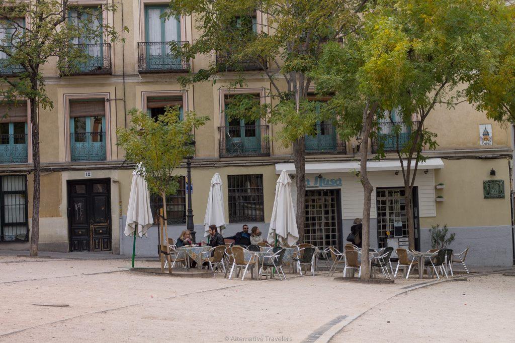 madrid in winter Outdoor Dining in Plaza de la Paja - Alternative Travelers