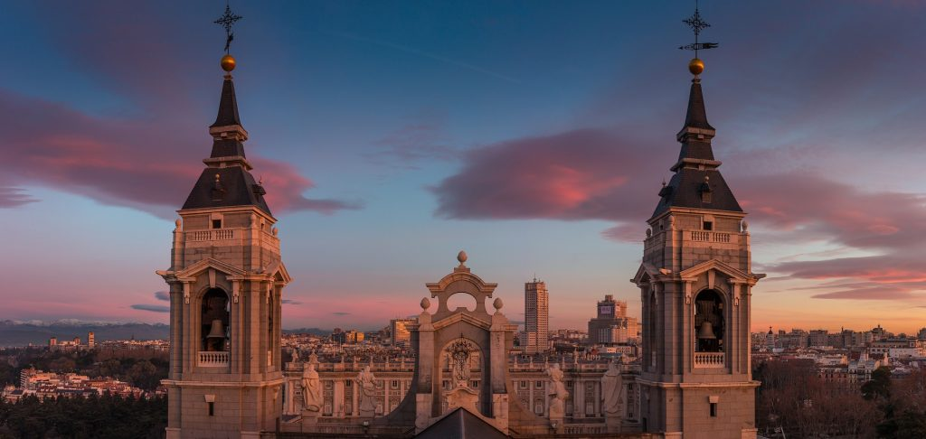 madrid in winter at dawn