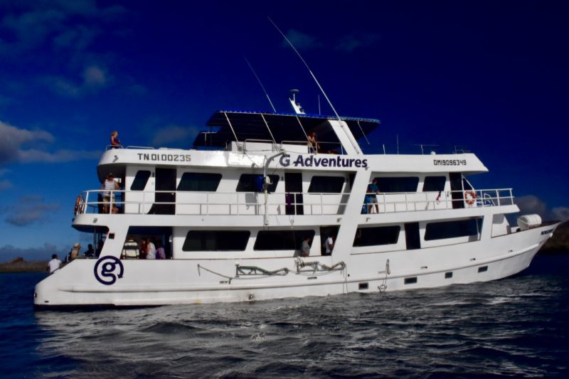The G adventures boat monserrat in the galapagos