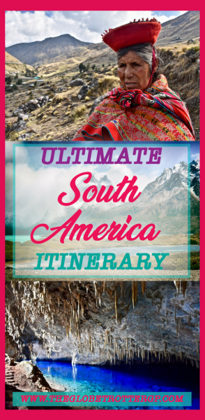 Your ULTIMATE South America Itinerary packed full of practical advice and pictures and photography to inspire your South American trip. Whether it be budget backpacking or a luxury vacation! South America has a lot to offer - culture, foods, beaches, amazon rainforest, animals, jungle, architecture, landscapes, wildlife… Use this South American bucket list to inspire your wanderlust and help you plan your travel itinerary. Bolivia | Galapagos | Peru | Chile | Argentina | Brazil | Colombia | Patagonia #southamerica