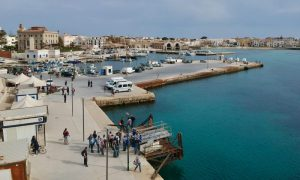 A scene of the port at Favignana taken with a drone - Driving in Sicily an italy road trip