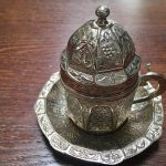 intricate silver coffee cup at Saray restaurant in Cardiff
