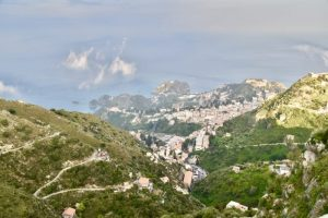Just before sunset at Castelmolla - looking down on Taormina - add it to your 10 day sicily itinerary