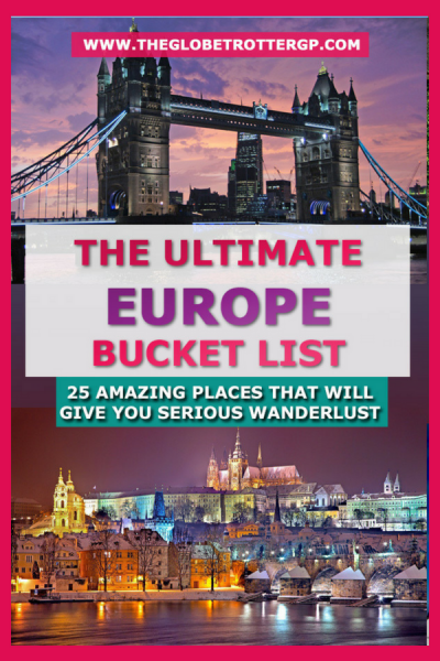 The ultimate europe bucket list. 25 must see europe destinations for your europe road trip. Help to plan your europe itinerary. Experience europe culture, romantic europe, europe historic locations and european cities. Backpacking europe or planning a europe vacation? Find plenty of tips for europe travel here. Places to see in europe | places to visit in europe #europe #europebucketlist