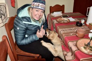 Classic Peru with G Adventures - homestay family - making friends with the puppy!
