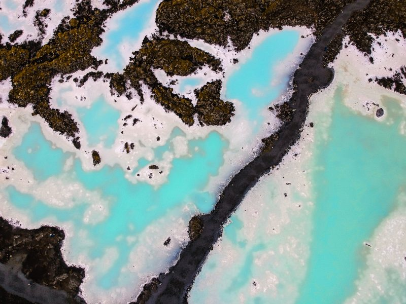 ariel view of the blue lagoon in iceland