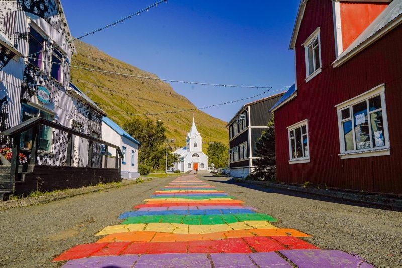 raindow road to church at seydisfjordur