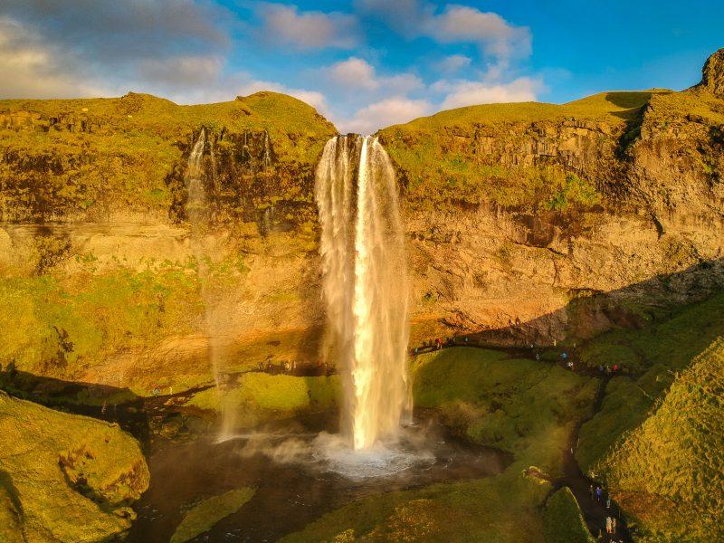 seljalandsfoss waterfall drone photo
