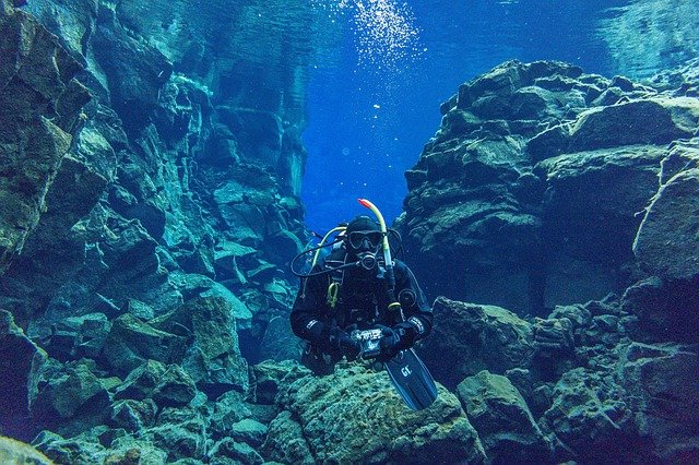 Diving in the silfra fissure the golden circle iceland