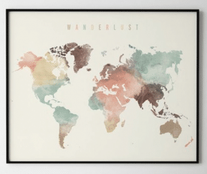 travel gifts for her watercolour map