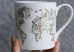 Travel gifts for her gold map mug