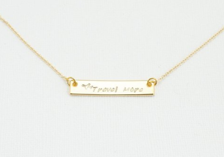 Travel more necklace in gold