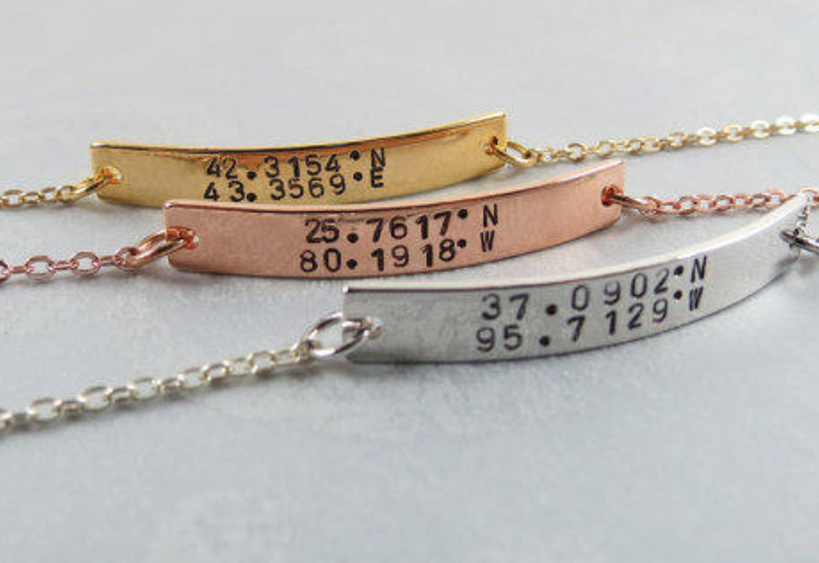 coordinates bracelet in gold silver and rose gold