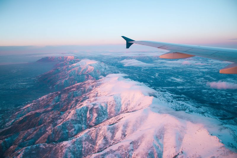 iceland cheap flights - picture of mountains out of airplane window