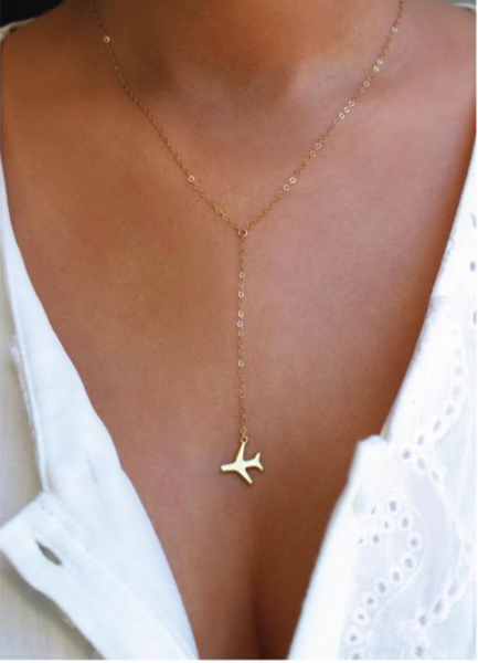 plane charm necklace in gold