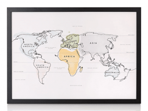 travel gifts for her framed watercolour map
