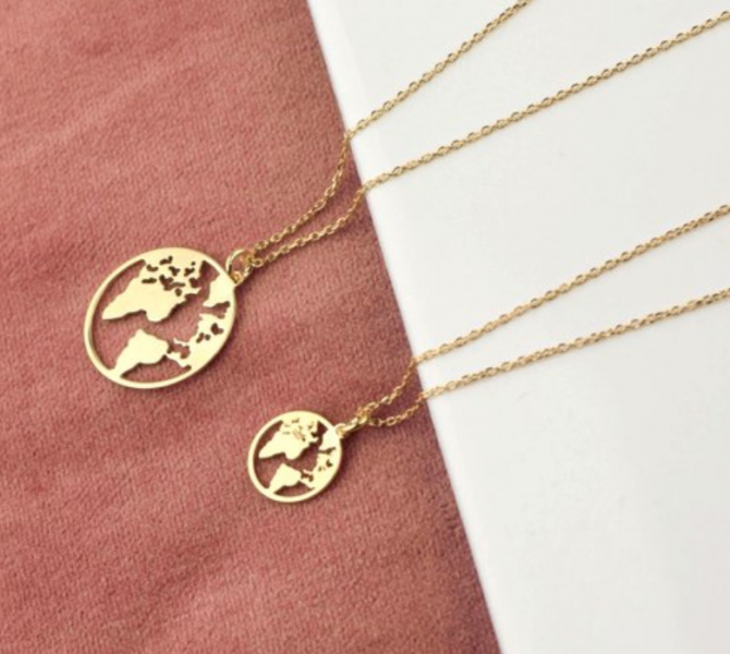 travel inspired necklace - world map