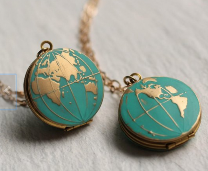 turqoise, gold and brass globe locket necklace