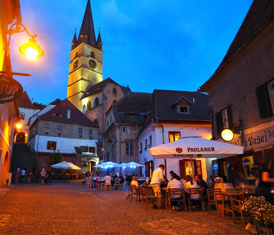 best city breaks for couples - sibiu at night