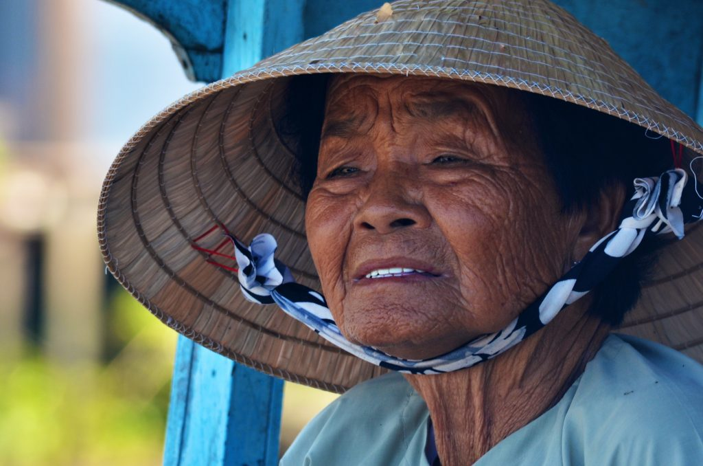 cambodia and vietnam tour - picture of a lady in a typical triangular vietnamese hat