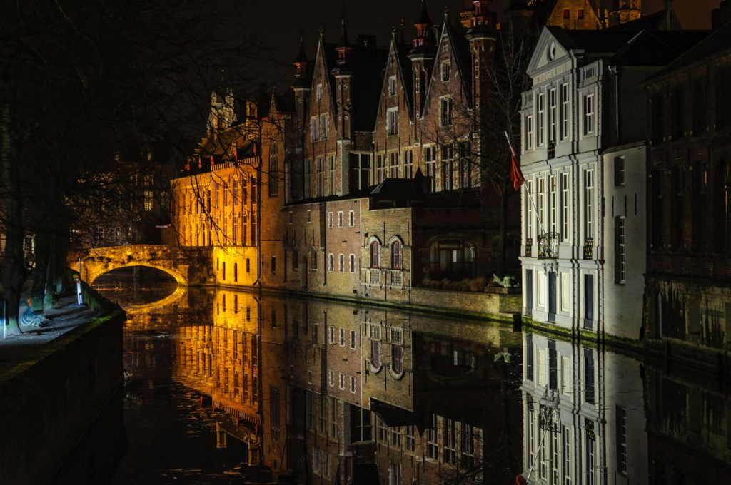 Night reflection in the UNESCO World Heritage Old Town of Bruges, Belgium