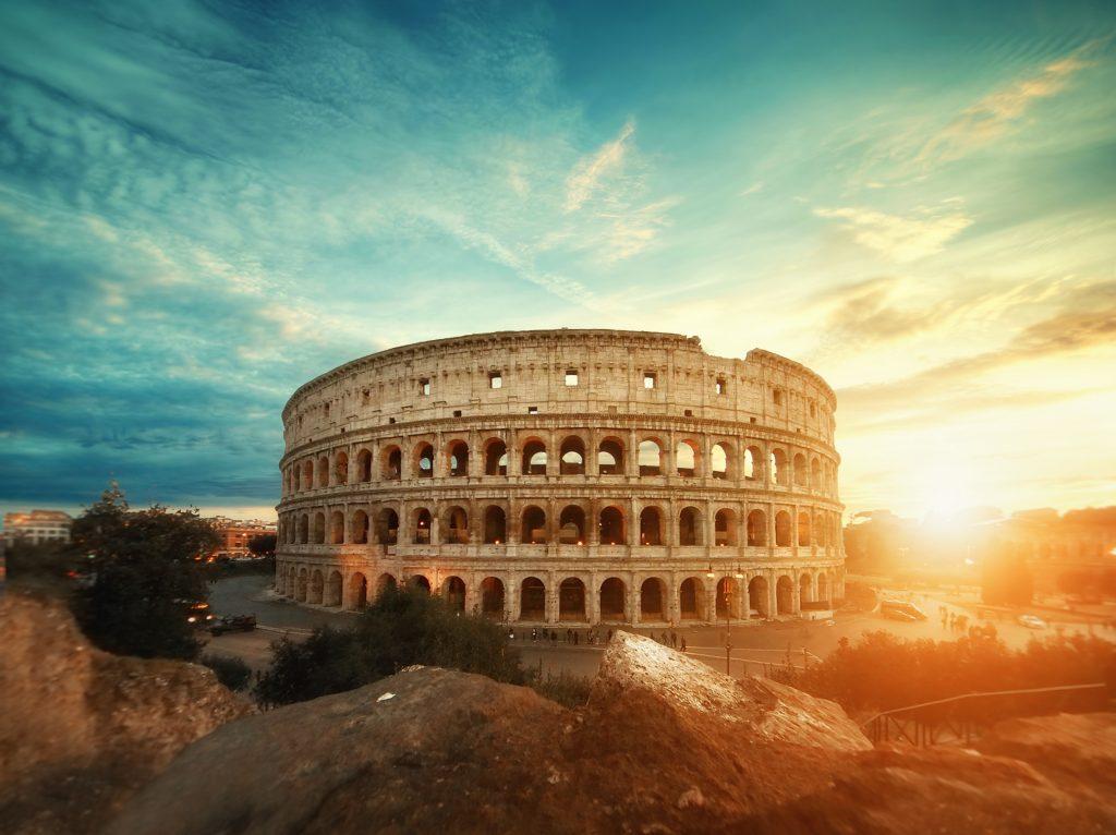 Visiting Rome in Winter - colloseum at sunrise