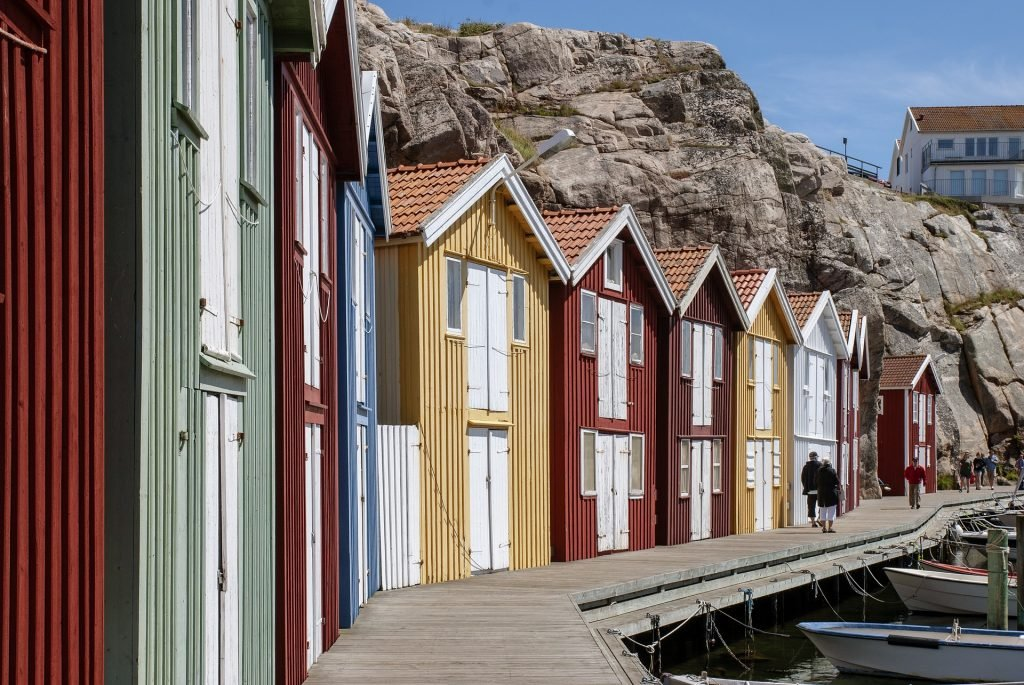 europe road trips in sweden colourful houses