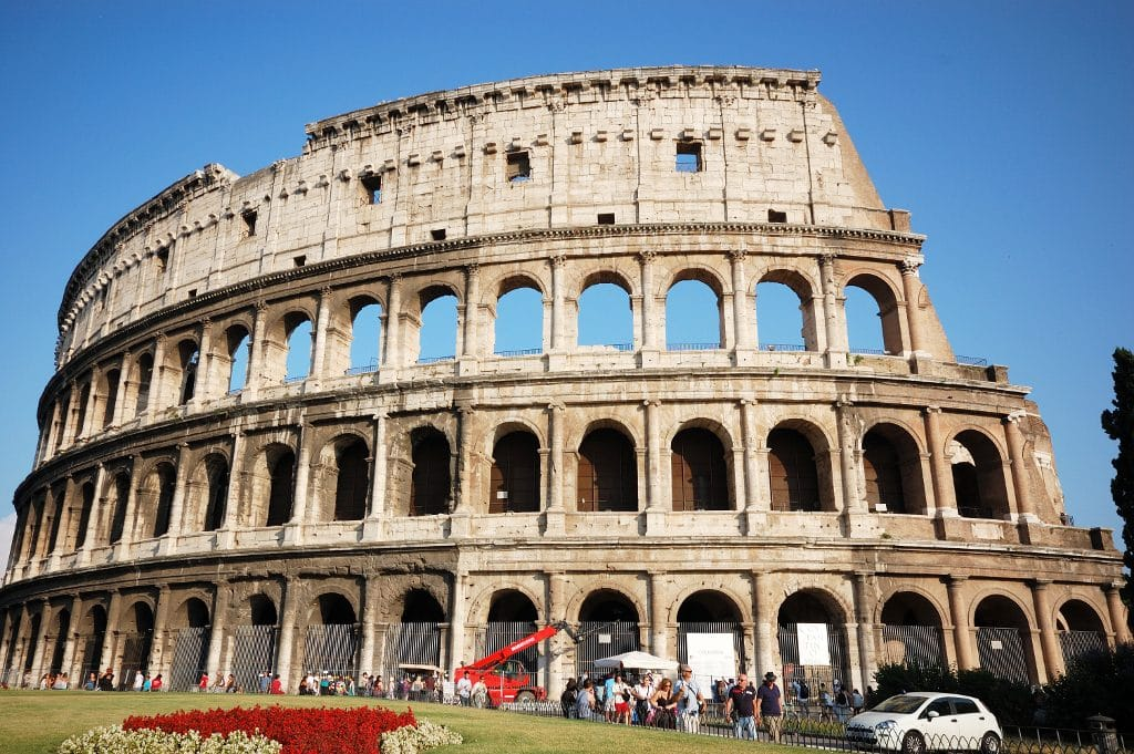 visiting rome in winter - colloseum on a sunny day