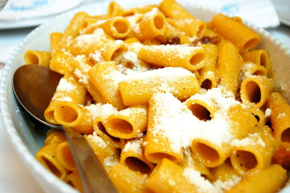 Dish of pasta - eating italian style is one of the great ways to spend a rainy day in rome