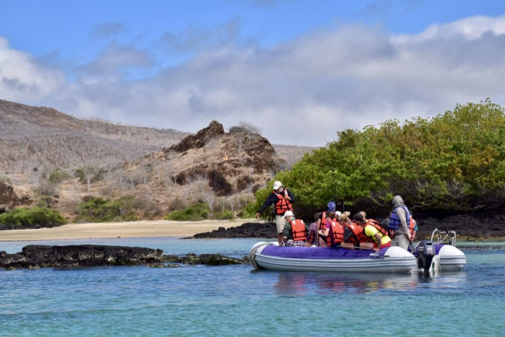 make sure everything is waterproof on your galapagos packing list as it will get wet on panga boats like this one