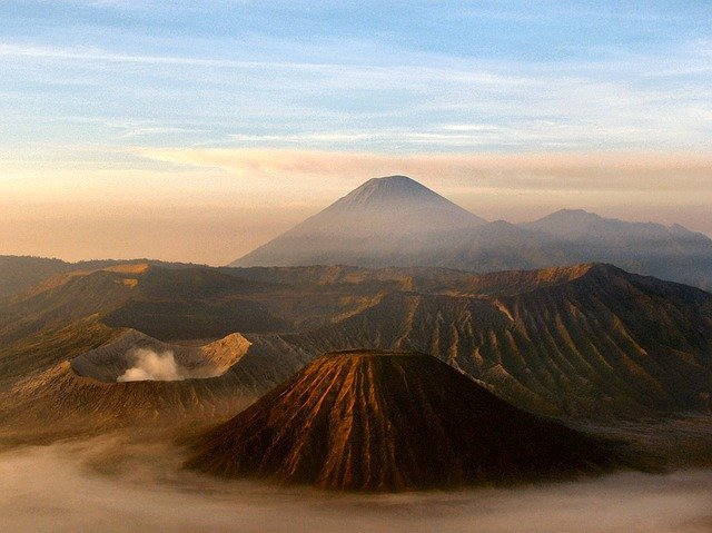 mt bromo at sunrise in the mist