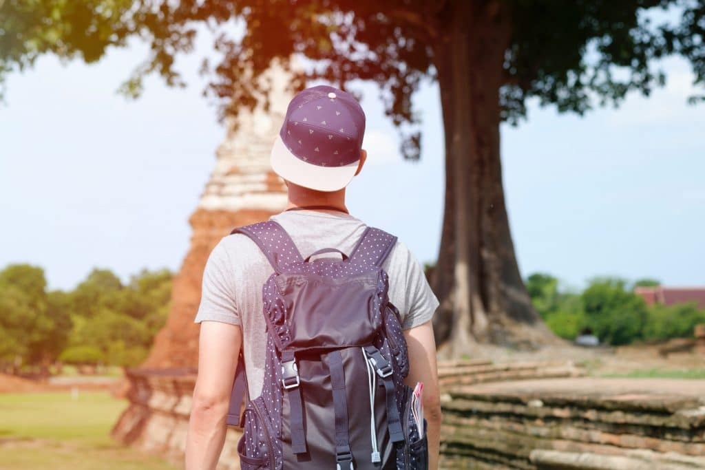 south east asia packing list  includes modest clothes for temples - man wearing t shirt and proper shorts at a temple