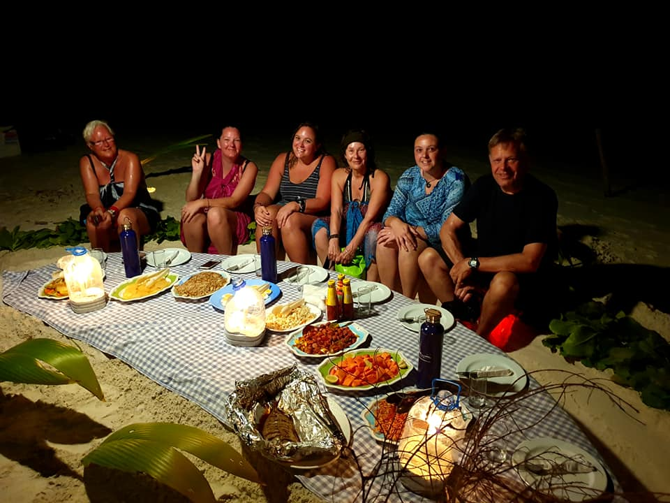maldives beach dinner with G Adventures