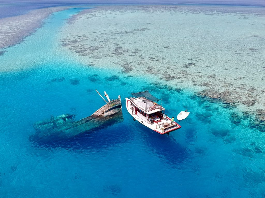 maldives wreck site from above