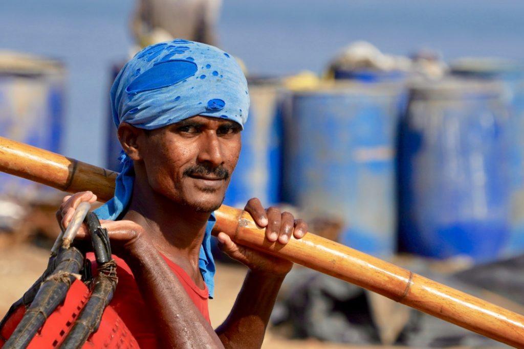 fisherman at negombo - visiting the fish markets
