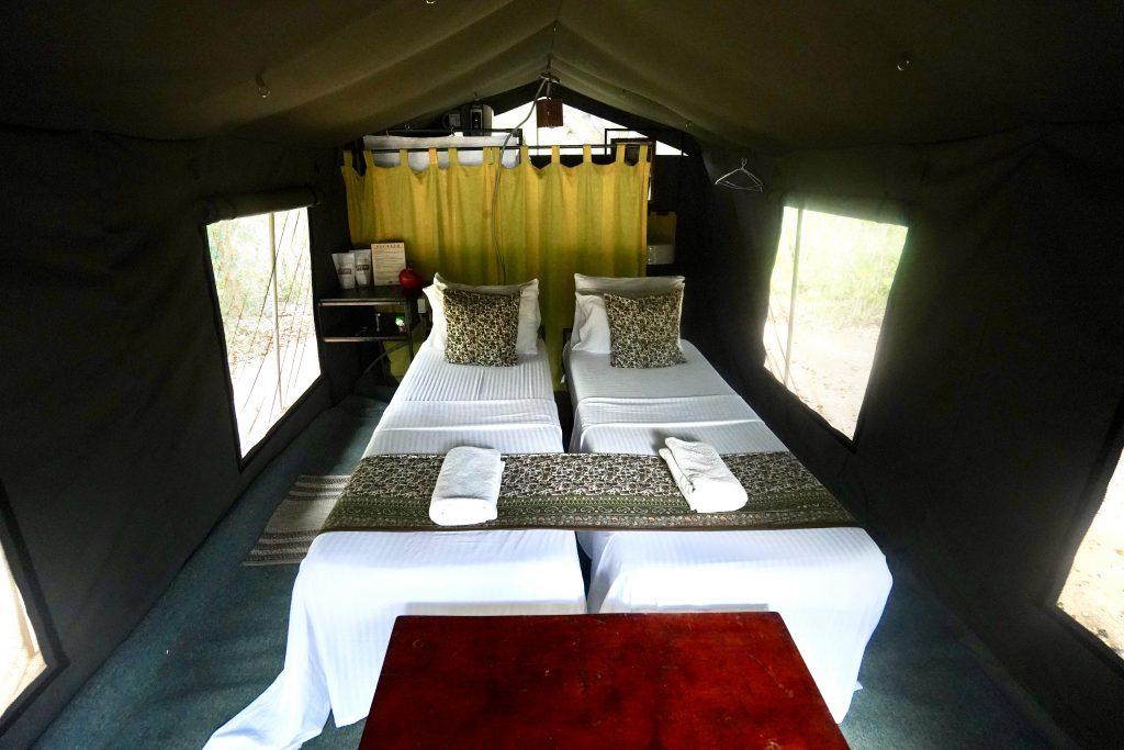 Glamping tent on a yala nationlal park safari
