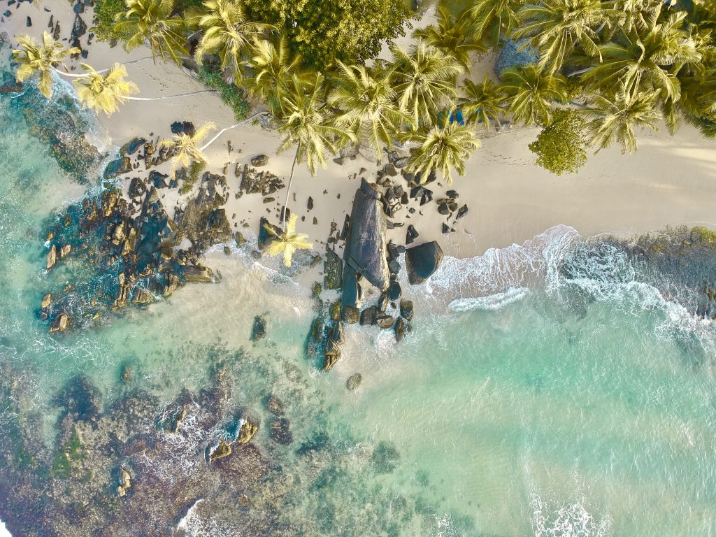 Dalawella beach drone photo taken from above