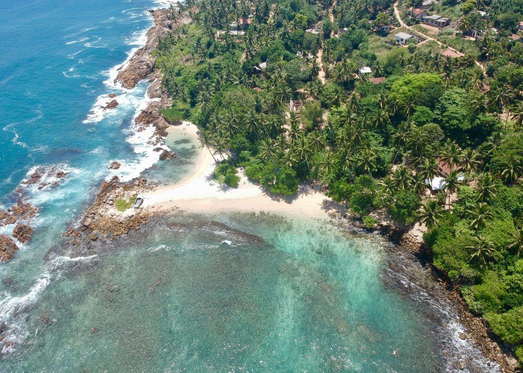 drone view of secret beach mirissa sri lanka