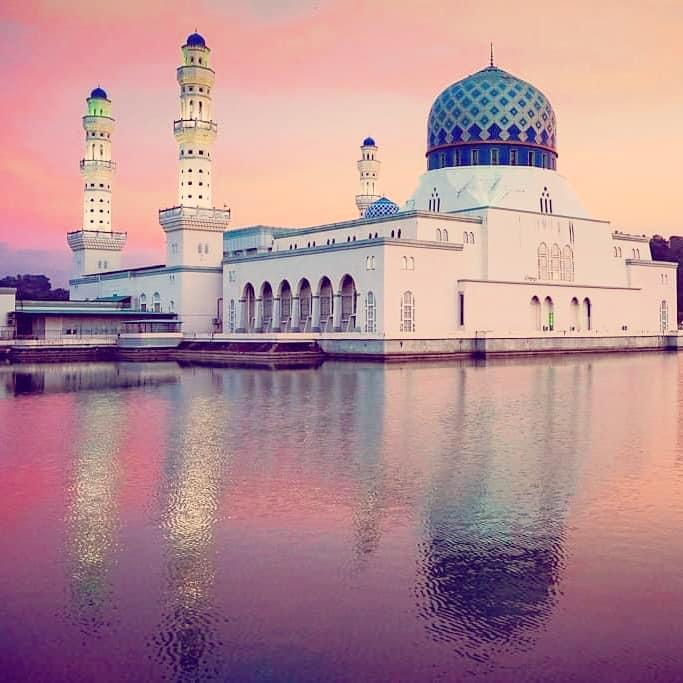 kota kinabalu city mosque at sunset